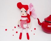 SALE Pin Up Rag Doll Swing Retro Red Pink