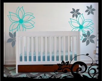 Mod flowers - Vinyl Decal, wall vinyl art