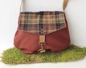 SALE satchel • wool and canvas crossbody bag • rich wool plaid - brick red canvas • small messenger - cross body purse - rachelelise