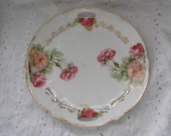 Vintage Floral Serving Plate ~ Roses ~ Cake ~ Handled