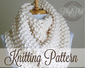 KNITTING PATTERN - Infinity Scarf - Easy Beginner Pattern PDF Chunky Super Bulky Yarn