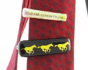 Dichroic Tie Bar - Tie clasp - Golden textured dichroic tie bar - Horse tie bar