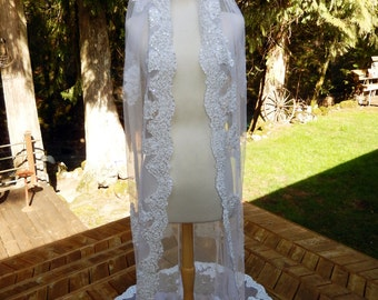 Handmade Couture OOAK Chapel Veil-Mantilla-Hand Embroidered Applique Pearl and Lace Bridal Veil-Scallop Edging-CRBoggs Original Design