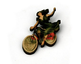 Bicycle Brooch, Wooden Bike Brooch, Vintage Bike Illustration