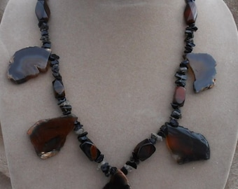 Genuine Agate Necklace 5 Pendant Dangle Style One Of A Kind