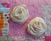 "Lot of 2 Hand rolled satin roses 2.5"", satin roses, flower, hair, wedding, hand rolled flowers, ivory"