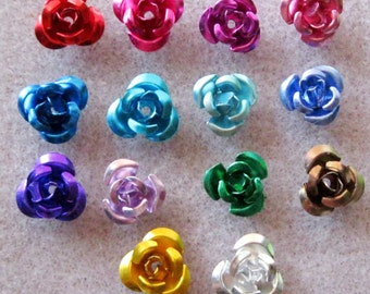 You Pick Colors and Quantity Tiny Aluminum Flower Beads 8mm 202