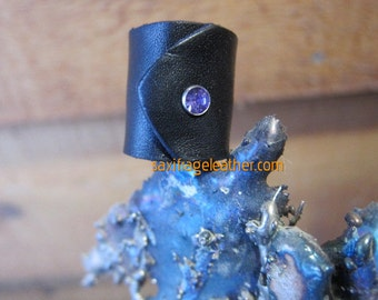Black Leather Ring with Lavender Crystal