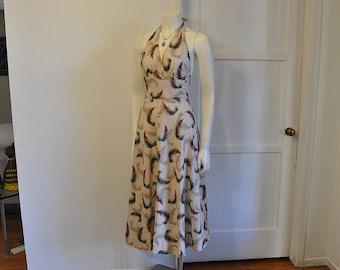 halter dress / Barkcloth Beauty Halter Hawaiian Print Dress