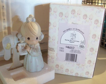 Precious Moments Sharing The Good News Together Porcelain Figurine vintage Enesco 1990 membership figure SALE Box and Tags
