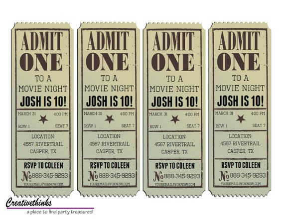 vintage movie ticket template - Acur.lunamedia.co