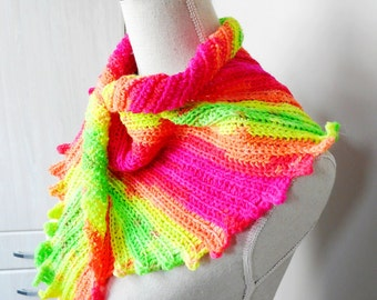 Skinny Neon Scarf Triangular Skinny Wrap with shades of Pink and Yellow handmade from a variegated Yarn - Crochet