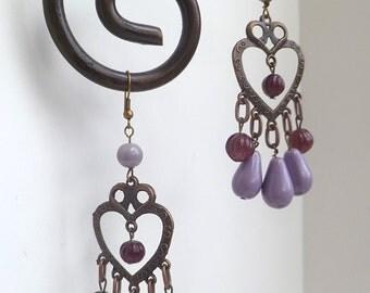 Purple and lavander chandelier earrings, bohemian, gypsy, romantic, copper and beads, Coachella