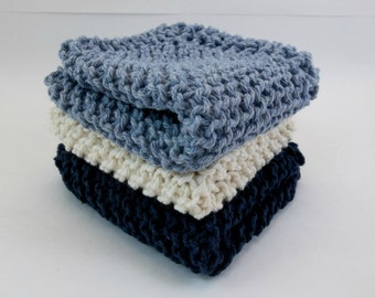 Knit Cotton Cloths Denim and Natural Cotton Wash Dish Cloths Set of 3