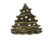 1950s Christmas Tree Brass Trivet, Holiday Decorations, Toys Hearts Stars & Decoration