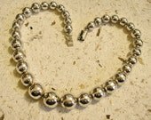 Benchmade Beads Necklace, Sterling Silver, 17.25 in. long, GRADUATED, Vintage Mexico 1980's
