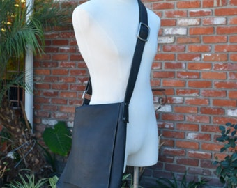 Black Leather Long Messenger with Natural Edge Flap and Adjustable Strap Bag