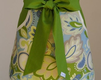 Green/Cream/Blue Print Trimmed with Green Adult Half Apron with Pocket, Baking Apron