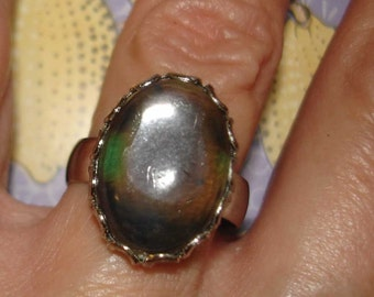 vintage moody smokey gray clear cab silver ring