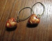 RED Venetian Glass Heart Earrings