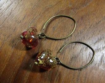 GARNET RED HEART Earrings, Venetian Glass Heart Earrings