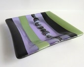 Fused Glass Dish in Black, Celadon Green and Lavender