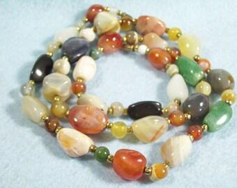 Vintage 70s Polished Agate Stone Necklace  Stones Multi Colored Gemstone Carnelian Quartz Jade