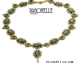 PAGONELLE Amazing Swarovski Navette  Beadwork Necklace tutorial instructions for personal use only
