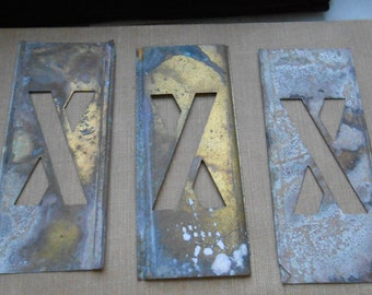 x - vintage brass stencil letter for altered art and crafting - stencil letter monogram