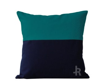 Teal and Navy Color Block Pillow Cover INDOOR / OUTDOOR (20x20) by JillianReneDecor Modern Spring Summer Home Decor - Two Tone