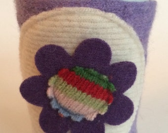 Colorful Coffee Cardi - Purple cute cup cozy made from felted wool sweaters flower sleeve