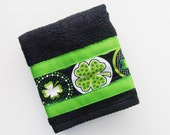 St. Patrick's Day Hand Towel / Shamrocks Print Trim - Black Terry Towel / Black, White, Green, Lime Towel / Lime Green Trim / Gift Under 15