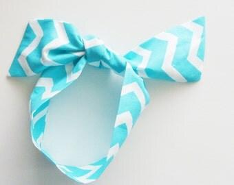 White - Aqua Chevron Head Scarf / Hair Accessory / Neck Scarf / Handbag Adornment / Rockabilly Scarf / Gift Under 15