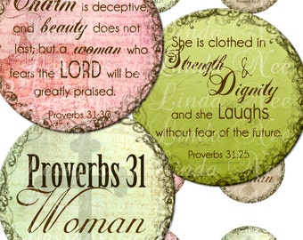 """Instant Download - PROVERBS 31 Woman (2) CHRISTian Scripture (1 Inch Round) Bottle Cap Images Digital Collage Sheet printable ~ 1"""" round"""