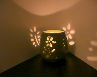 Green Floral Candle Holder, Lantern, Luminary
