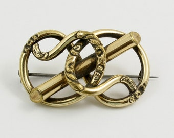 Victorian Love Knot Brooch Gold Tone Goldtone Knot Brooch Love Knot Pin Love Token Chased Knot Valentines Day Wedding Brooch Antique Brooch