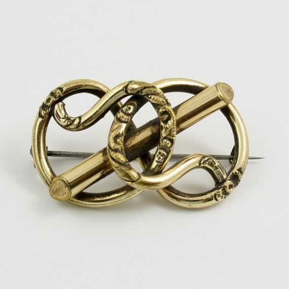 Antique Victorian Goldtone Love Knot Brooch Pin