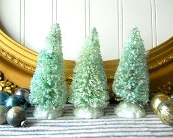3 Bottle brush trees pale aqua green vintage putz  style glittered bristle sisal trees Holiday Decor N1