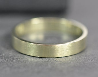 GREEN GOLD Ring, 14K 3x1mm Flat Edge Wedding Band or Fashion Ring, Unisex, Sea Babe Jewelry