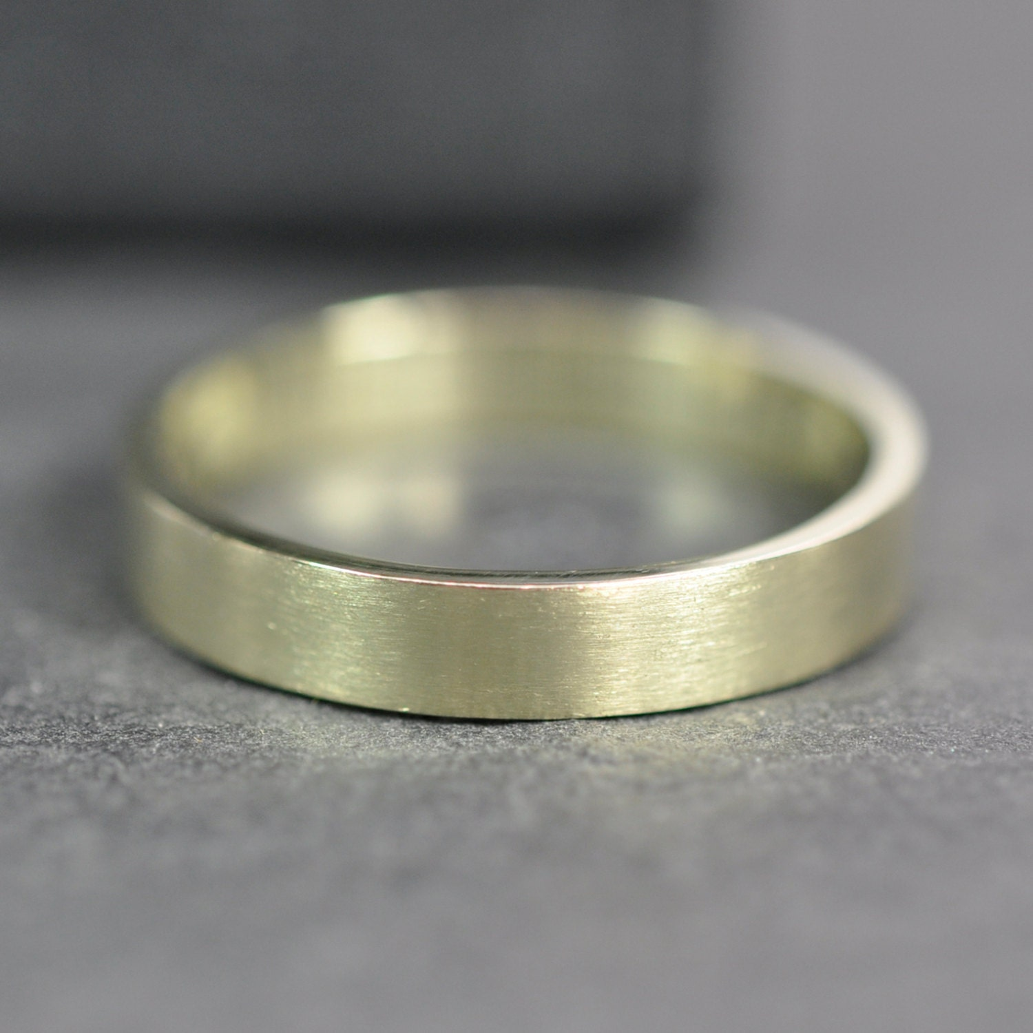 green gold ring 3x1mm flat edge wedding band or fashion ring. Black Bedroom Furniture Sets. Home Design Ideas
