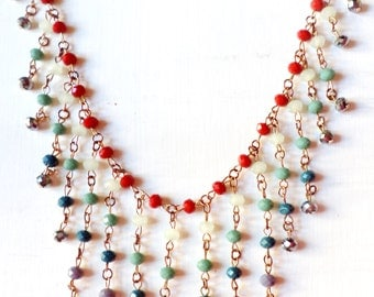 Handmade Cascading Beaded Turquoise Purple and Red Necklace