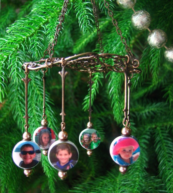 Photo Ornament - Filigree Chandelier Ornament with Photo Charms - COC5x6