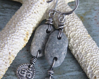 Beach Stone Om Earrings - The Cortez Collection