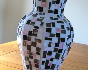 Stained Glass Mosaic Vase in Pink, Black, White and Grey
