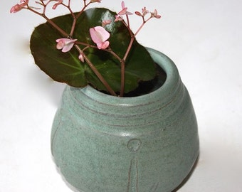 Ceramic Bud Vase in Stoneware Glazed with Mat Aqua (cerulean blue) for Air Plant or Miniature Bouquet OOAK