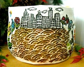 RESERVED for Margot - Extra Large City Living On A Hill, Happy Urban Garden Yarn Bowl - HandMade Buildings, BlueBird of Happiness, Flowers