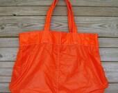 Parachute Bag : Large Orange Nylon Ripstop Parachute Slider Tote Bag