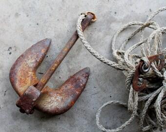 Vintage 15 Pound Navy Anchor Rusty Nautical Decor
