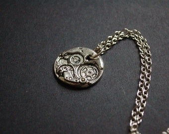 silver tone steam punk watch movement necklace
