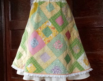Feedsack Patch Skirt reproduction fabric prints! ~Lazy Mare Homegrown Original ~ one of a kind! handmade womens hippie patchwork skirt